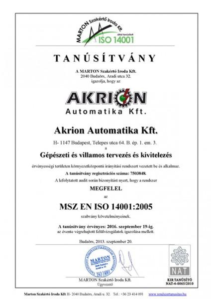 MSZ EN ISO 14001 Tanúsítvány
