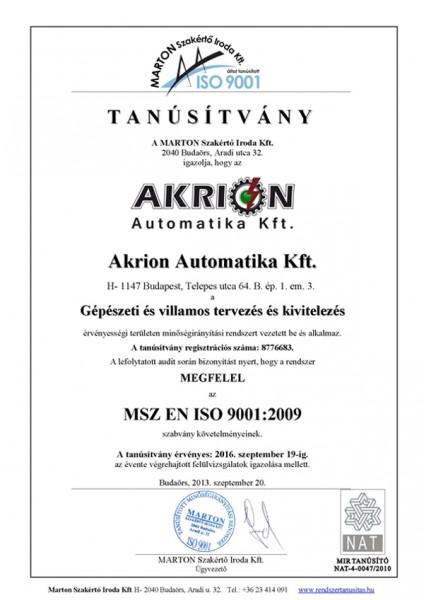 MSZ EN ISO 9001 Tanúsítvány